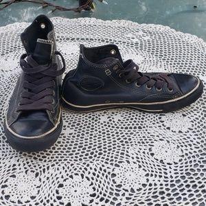 Converse Mens Black Leather High Tops Sz 7.5